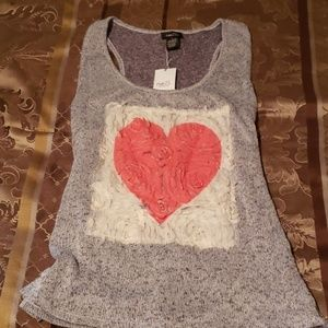 Tank with heart ruffles